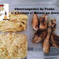 Meia Dose de Frango assado no carvão a acompanhar Batata frita Caseira e ou Arroz Cenoura