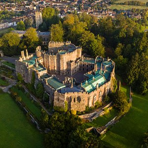 Stunning aerial view of Berkeley Castle and the adjoining town.