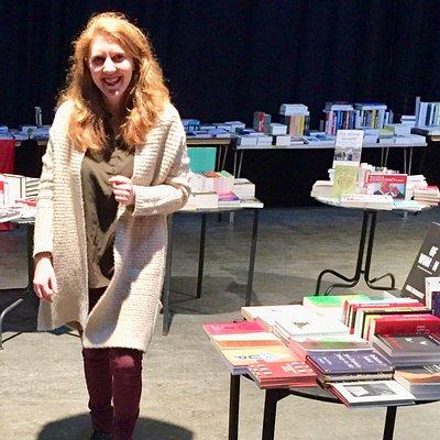 Mairi overseeing the Lighthouse radical bookfair 2017! Best bookshop in Edinburgh!