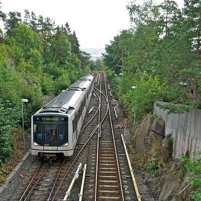 Metro car on line 1 to Frognerseteren