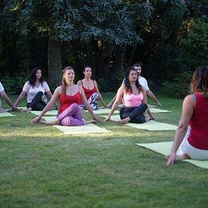 Yoga group session
