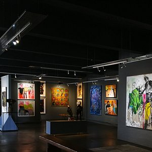 Our moody gallery space where we have created an intimate interaction with African Art
