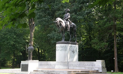 The Nathaniel Greene statue is the most prominent memorial at Guilford Courthouse National Park.