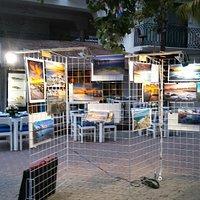 Fotografos locales exponiendo en la 5a Avenida de Playa del Carmen.