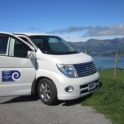 On the crater rim scenic road above the Akaroa Harbour
