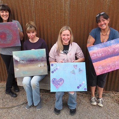 Group abstract acrylic painting workshop. Beautiful work for a 3-hour class!