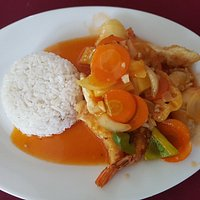 Sweet and sour prawns.