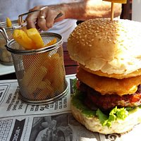 Obviously could not get my mouth around the burger but so so tasty and huge.