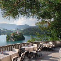 The view of Bled Island from Cafe Belvedere
