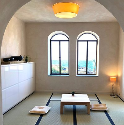 A japanese style tatami room in a traditional jaffa space