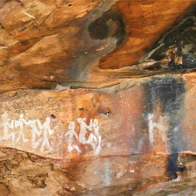 White paintings on the rock apparently painted using Kaolin Clay.