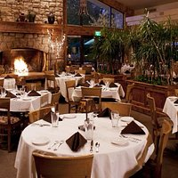 Warm lodge like dining room