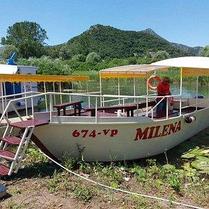 Boat for group tours on Skadar Lake.
