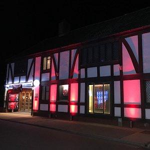 Aldeburgh Cinema, fully illuminated for the 2017 Aldeburgh Documentary Festival