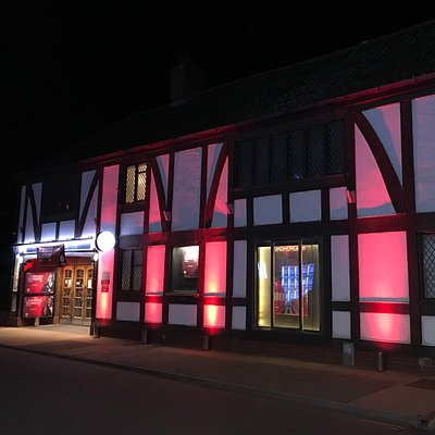 Aldeburgh Cinema, fully illuminated for the 2017 Aldeburgh Documentary Festival