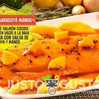 Salmón cocido a baja temperatura en salsa de maracuyá mango