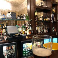 The bar area, not a huge selection but great service.
