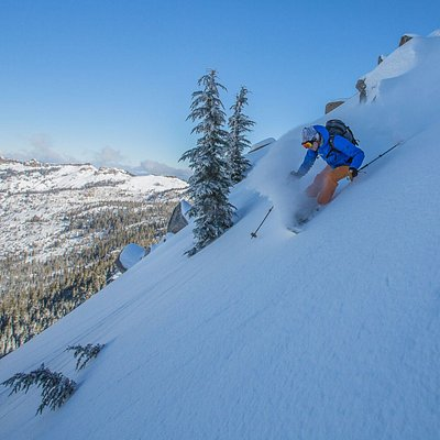 Ski untracked powder all winter long with professional ski guiding out of bounds!