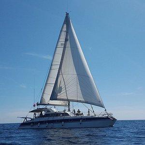 Catamaran ATAO Plongée en navigation à la voile