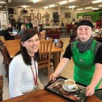 Tayla serving customer Emma