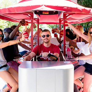 Trolley Pub riders celebrating on a tour