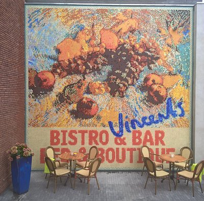 """Nearly 30m2 of Pixel Mosaic on the wall of """"Vincents Bistro & Bar"""", made by mosaist Irene Hemela"""