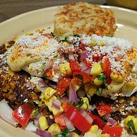 I Like You E'lote Benedict w/corn-quinoa patty & hash brown