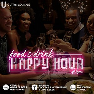 Enjoy delicious food from our happy hour menu from 5-7pm & drink specials from 5pm