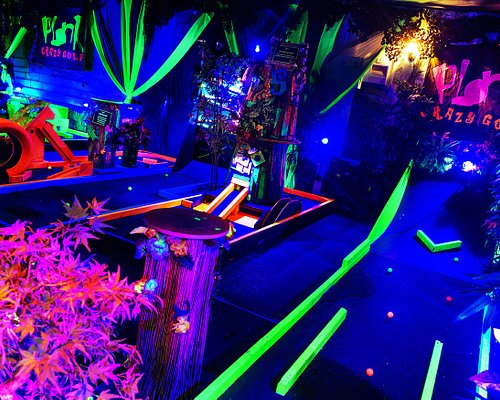 LIned up like at the rcade, our UV 9 Hole course may look easier than it is!