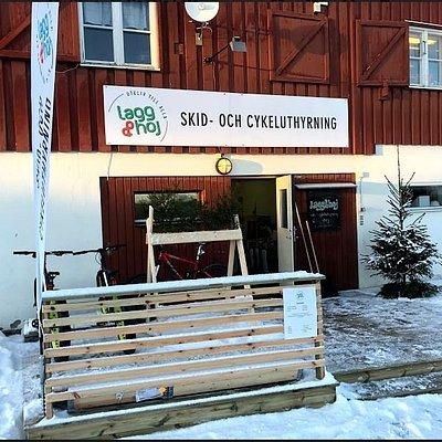 Outside SkiShop in Winter