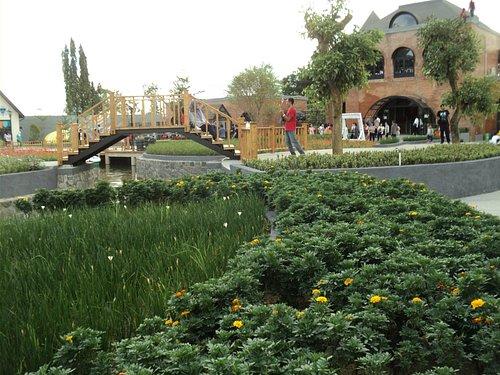 Hamparan taman bunga diantara bangunan unik di The Village