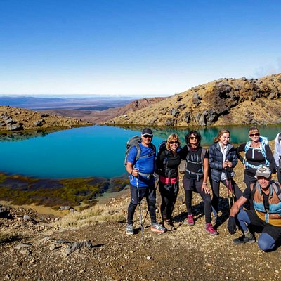 Enjoying a well deserved break at the Emerald Lakes - Tongariro Alpine Crossing