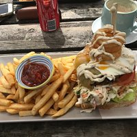 Burger with the lot, Boat Harbour Beach Surf Club Cafe