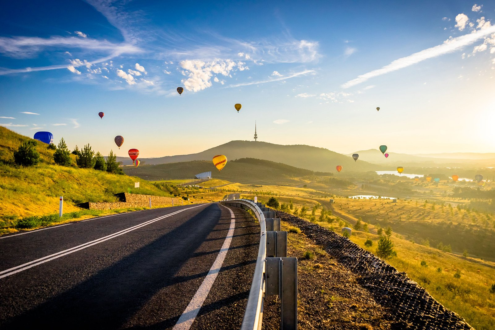 Balloons aloft over the National Arboretum Canberra