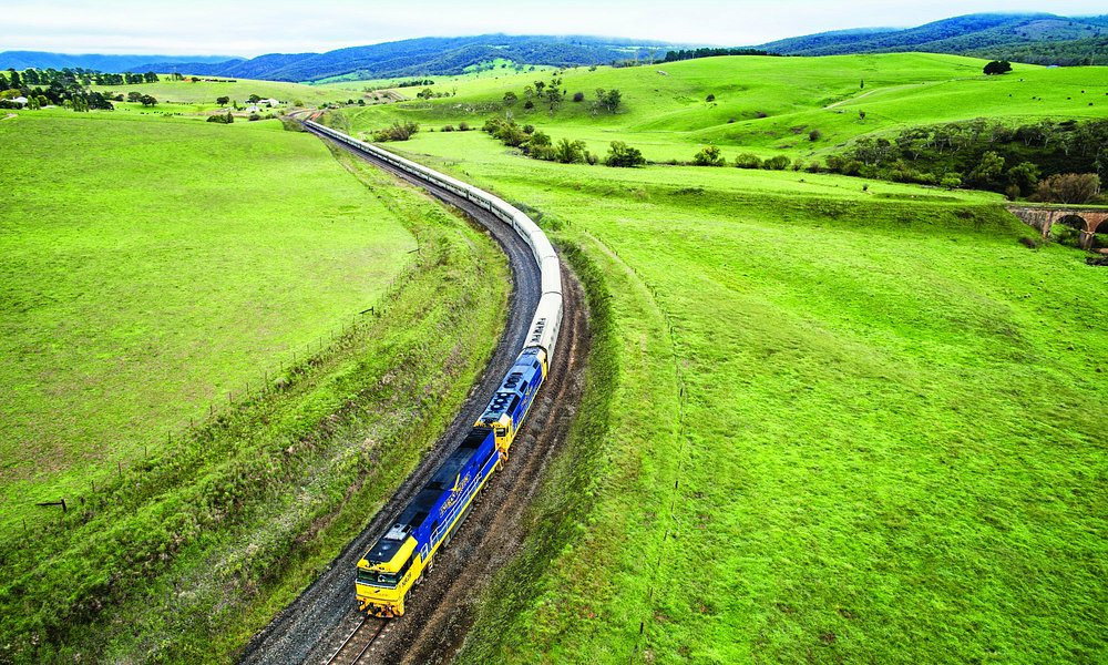 The Indian Pacific travels through the Terana Valley in NSW.
