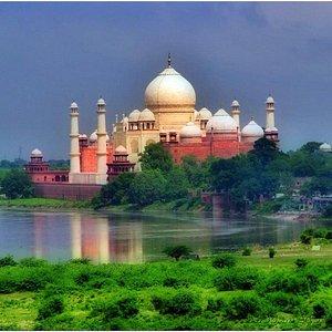 Taj Mahal, on the south bank of the Yamuna river.