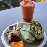 fresh fish wrap and a delicious smoothie