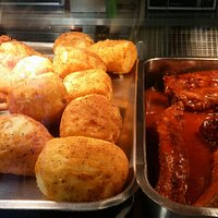 southern fried chicken, southern fried potatoes and BBQ ribs