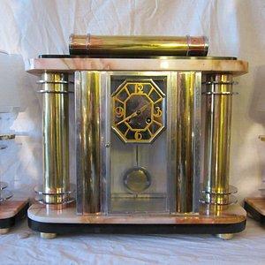Fine Modernist clock set France circa 1935