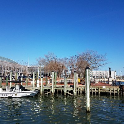 View from dock into adjacent Naval Academy