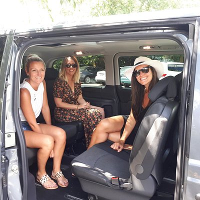 An intimate winery tour experience with rear facing seating.