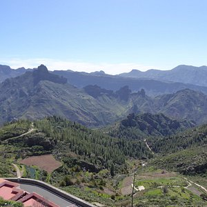At the top with a view of the Roque Bentaiga in the centre of the vast caldera