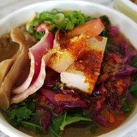 "Takashisan's famous vegan ramen ""Garden Sushi Maui"" so ono! Available Tuesdays only"