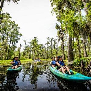 enjoying the kayak swamp tour