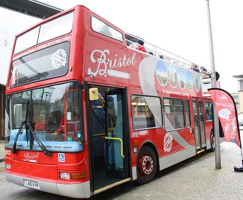 Our open-topper at one of our stops in the centre of Bristol