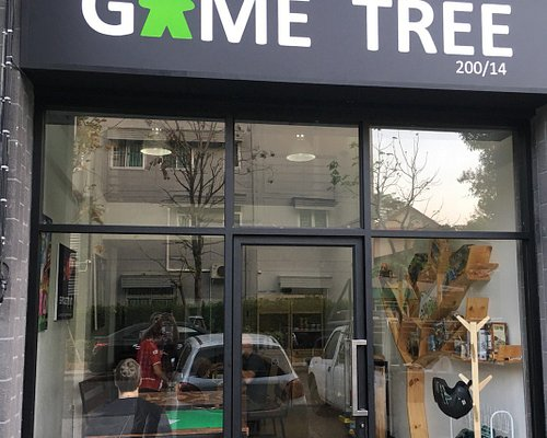 shop front. Look at those cool gaming tables inside.