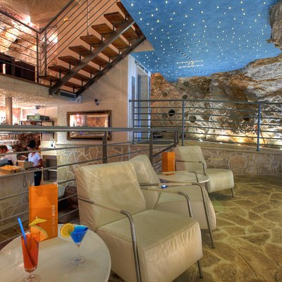 Indoor space of the Cave bar