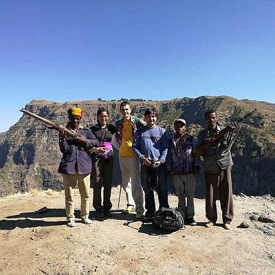 Our trekking group including our two guards (guys with guns) and Tayachew, our guide.