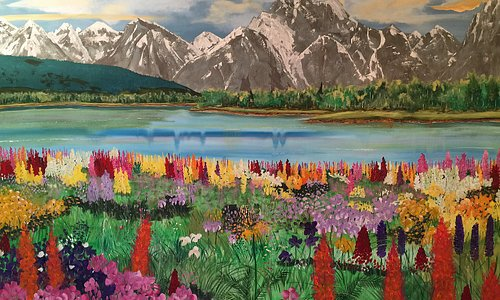 Valley of Flowers in India 10 ft. x 8 ft. on canvas
