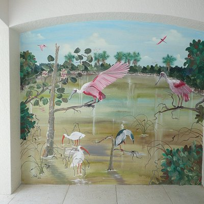 outdoor lanai mural 8 ft x 8 ft of spoonbills and a night heron